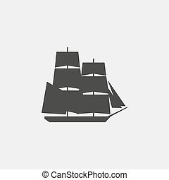 Ship icon in a flat design in black color. Vector illustration eps10