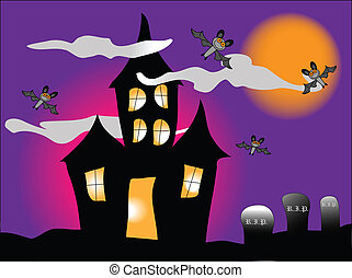 Haunted House - a haunted house with bats under a spooky...