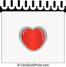 Writing book with heart on white background.