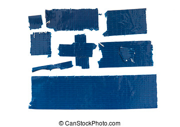Blue Duct Tape - Collection of used blue duct tape pieces