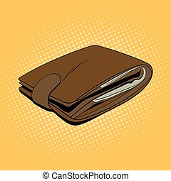 Leather wallet with cash. Pop art style vector illustration