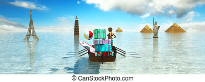travel with boat and baggage - 3d illustration of travel...