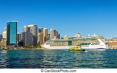 Cruise Ship in Sydney Harbour, Australia - Cruise Ship in...