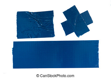 Blue Duct Tape - Set of used blue duct tape pieces