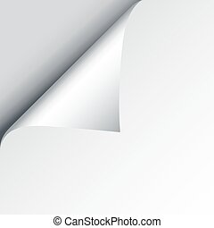 Blank sheet of paper with page curl and shadow, design element for advertising and promotional