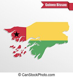 Guinea Bissau map with flag inside and ribbon