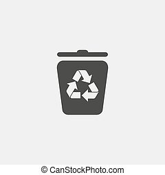 Recycling container icon in a flat design in black color....