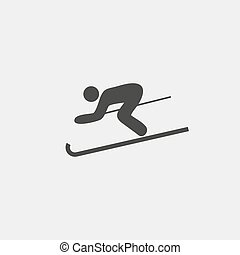 Skier icon in a flat design in black color. Vector illustration eps10
