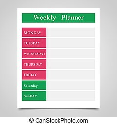 Weekly planner, daily planner on a gray background