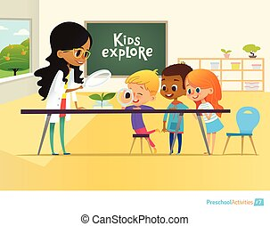 Smiling teacher and children looking through magnifying glass at green sprout during biology lesson in classroom. Preschool environmental education concept. Cartoon vector illustration for poster.