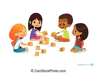 Laughing and smiling kids sit on floor in circle, play with toy cubes and talk. Children's entertainment, preschool and kindergarten activity concept. Vector illustration for website, banner, poster.
