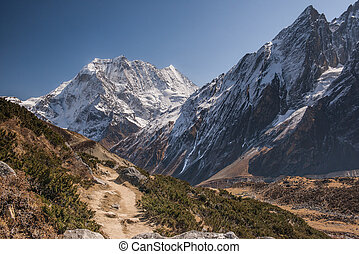 White snow mountains peak panorama. Nepal, Manaslu