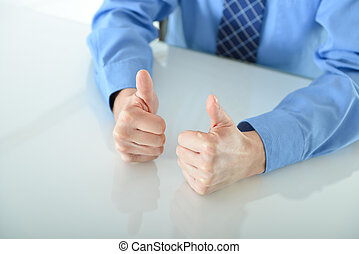 Business man giving two big thumbs up - Successful Business...
