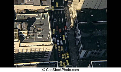 New York taxis - vintage panorama on seventy from Empire...