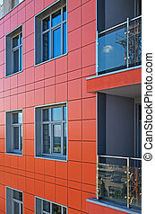Wall multistory building - Side of a modern high-rise...