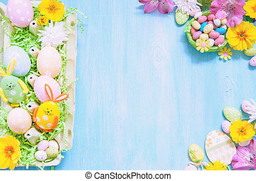 Easter decorations with eggs and flowers - Easter...