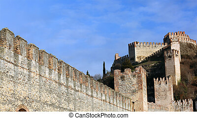 Soave Verona Italy Ancient Castle with medieval walls -...