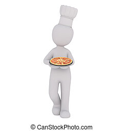 3d chef carrying an Italian pizza - 3d chef wearing a toque...