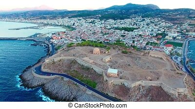 evening flight over Rethymno city at Crete