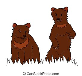 little bears.eps - Two brown bear on a white background.