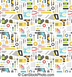Construction tools icons seamless pattern. - Construction...