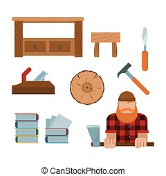 Lumberjack and woodworking tools icons illustration -...