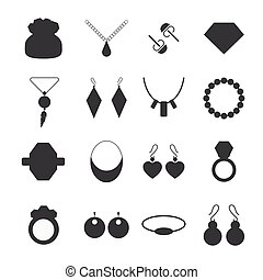 Silhouette jewelry accessories - Set of vector jewelry...
