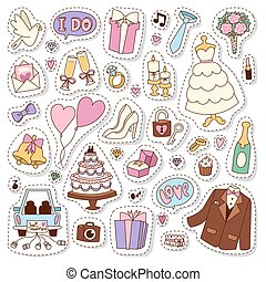 Wedding stickers icons vector illustration. Married...