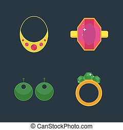 Set of cartoon jewelry accessories - Set of vector jewelry...
