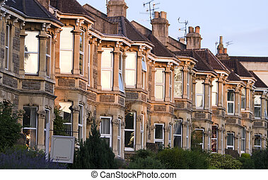 A terrace of typically British Victorian houses