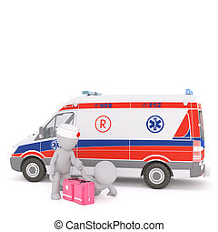 3d Paramedic treating a patient near an ambulance - 3d...