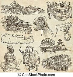 Nepal - Pictures of life. Travel. Full sized hand drawings,...