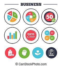 Medicine icons. Tablets bottle, brain, Rx. - Business pie...