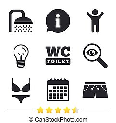 Swimming pool icons. Shower and swimwear signs. - Swimming...