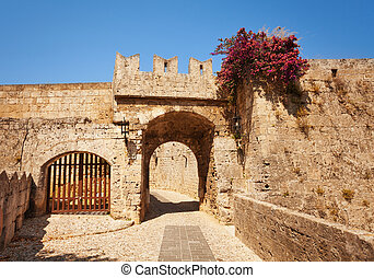 Fortifications of the old town on Rhodes Island