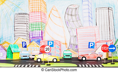Road traffic at the toy city with signs and cars - Picture...