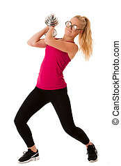 Fitnes - Blonde young woman working out with dumbbells...