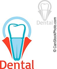 Dental health tooth implant vector icon emblem - Dentist and...