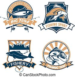 Fishing sport and fisher club vector icons set - Fishing...