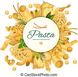 Pasta vector poster for Italian cuisine - Pasta and macaroni...