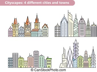 Building vector line icons - Linear vector cityscape...