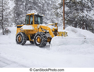 Snow removal vehicle removing snow - Heavy snow. Winter...