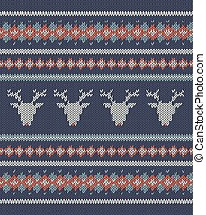 Knitted  texture on blue background with deers
