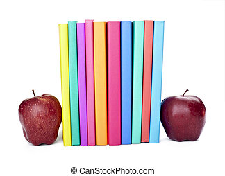colorful books apple fruit food education school