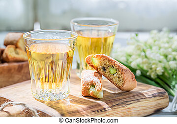 Closeup of delicious biscotti with Vin Santo wine