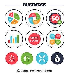 Presentation billboard. Dollar cash money. - Business pie...