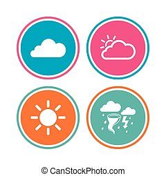 Weather icons. Cloud and sun. Storm symbol. - Weather icons....