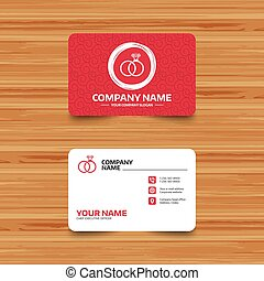 Wedding rings sign icon. Engagement symbol. - Business card...