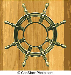 vector bronze wheel on a wood - bronze wheel on a wooden...