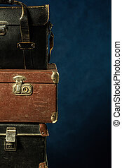 Stack of old suitcases. Travel Concept Background longer...